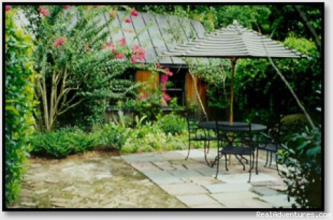 Charleston SC's Charlotte Street Cottage Private patio in gardens
