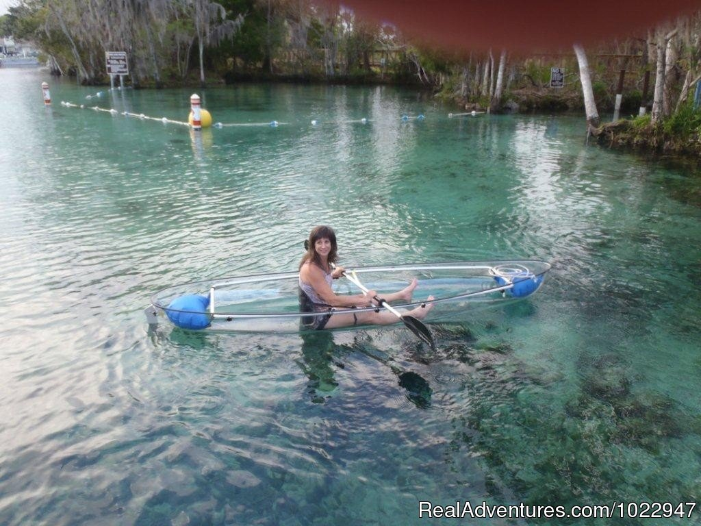 A Clear Blue Kayak on our clear blue spring waters | Image #6/8 | Snorkeling with Manatees in Crystal River