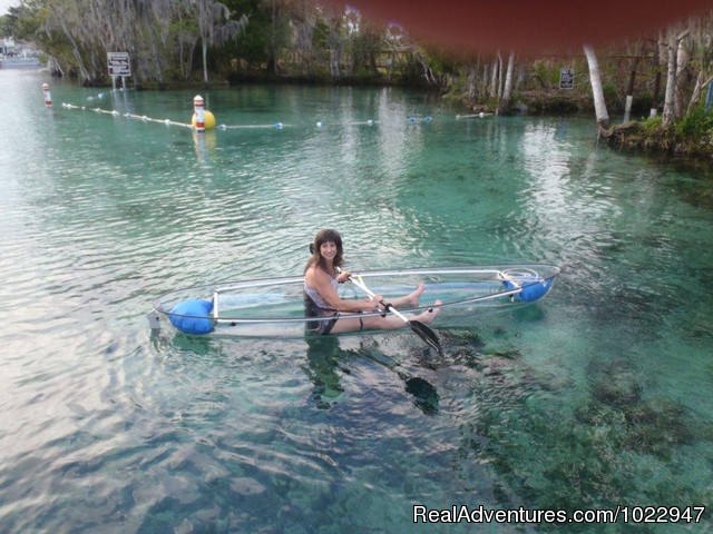 A Clear Blue Kayak on our clear blue spring waters - Snorkeling with Manatees in Crystal River