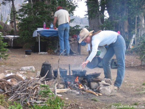 Good old-fashioned campfire cooking! - Horseback riding in the Tetons & Yellowstone Park