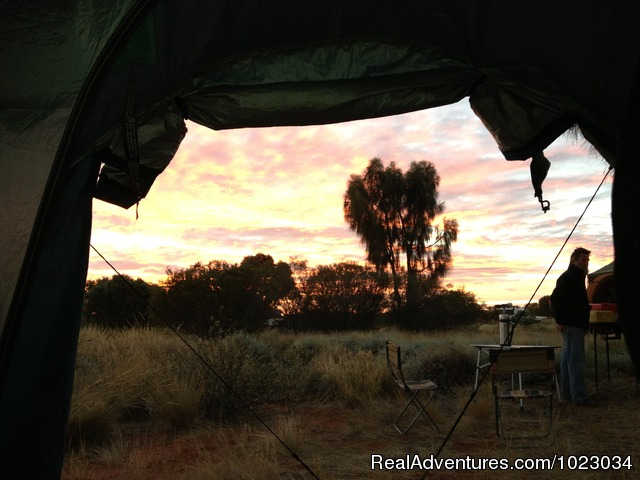 Room with a view Looking out of a tent at dawn. - Escorted Self-drive Tours to Outback Australia
