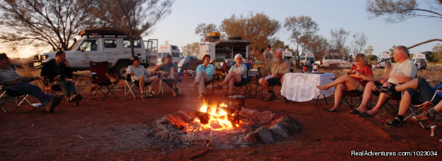 Enjoying the campfire on a Global Gypsies Tour - Escorted Self-drive Tours to Outback Australia