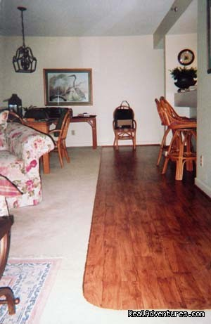 Wood floor effect next to bar and in bathrooms - Hilton Head Palmetto Dunes Condo Near Beach