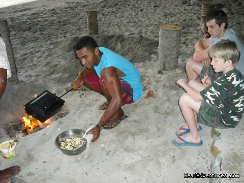 Popcorn making at the beach - Dive Kadavu / Matana Beach Resort
