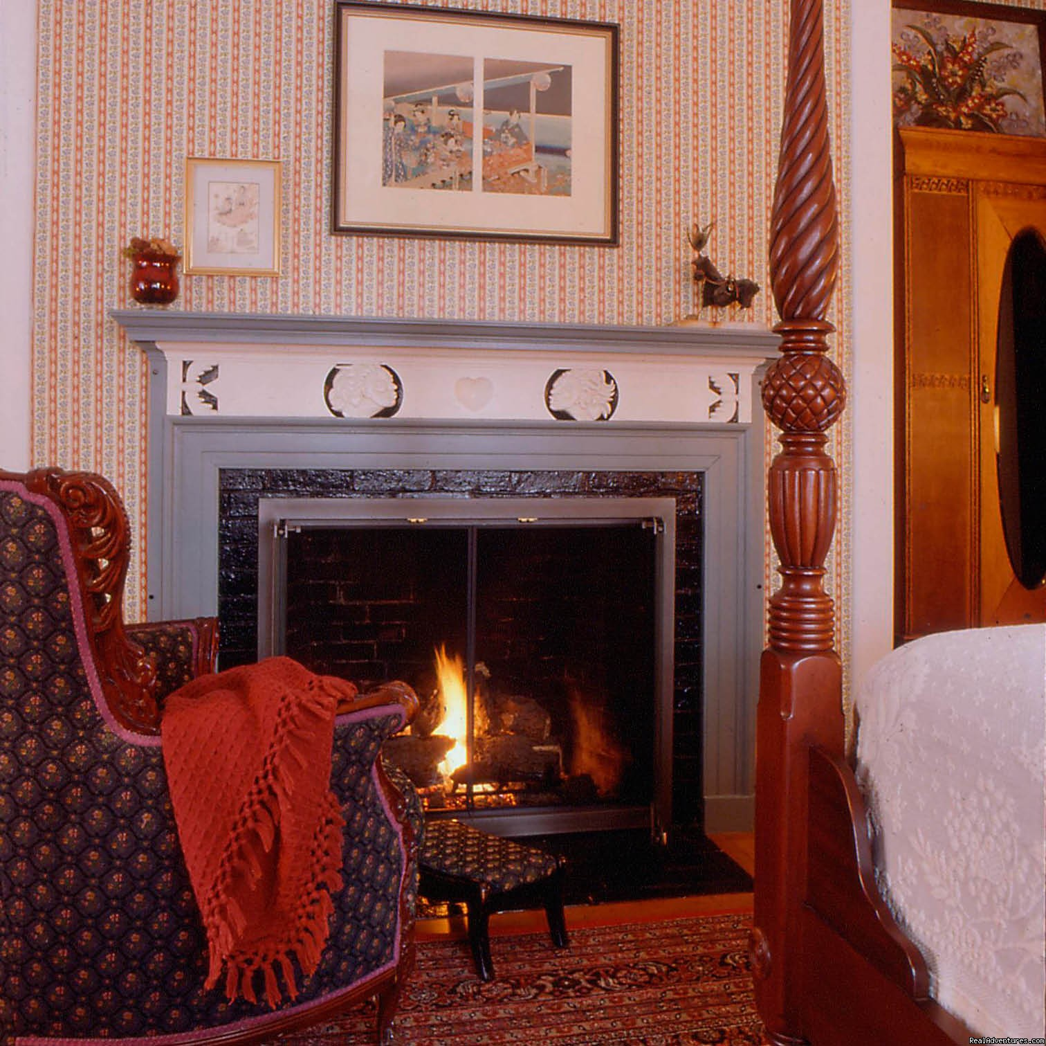 A cosy fire in the Emerson guestroom