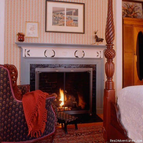 A cosy fire in the Emerson guestroom (#2 of 9) - Hawthorne Inn- Relaxed elegance