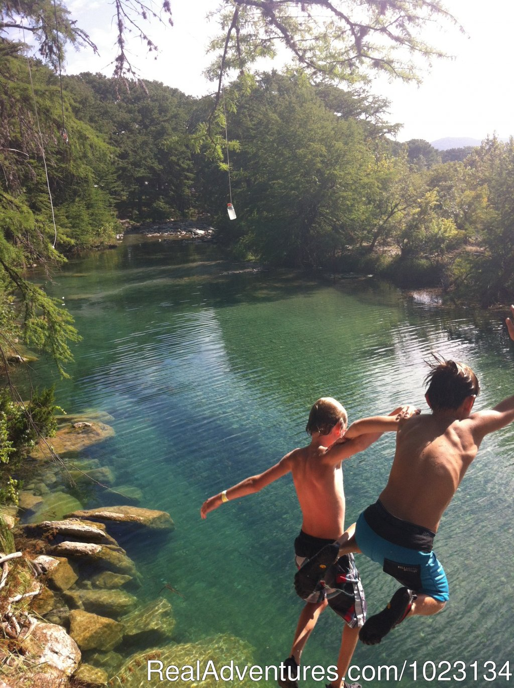 Bluff jumping at the River Terrace Property | Image #4/12 | Secluded Cabin in Texas Hill Country on Frio River
