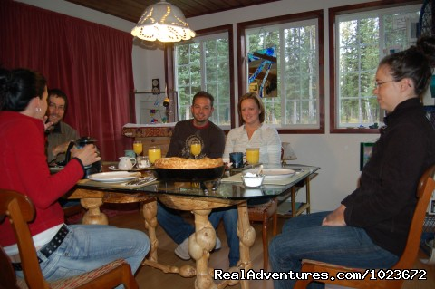 Happy breakfast guests - Off The Road House, where people can get in touch