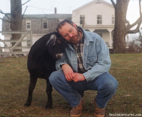 Corey (the goat) and Vince (the innkeeper) - Environmental leader and full service in Augusta