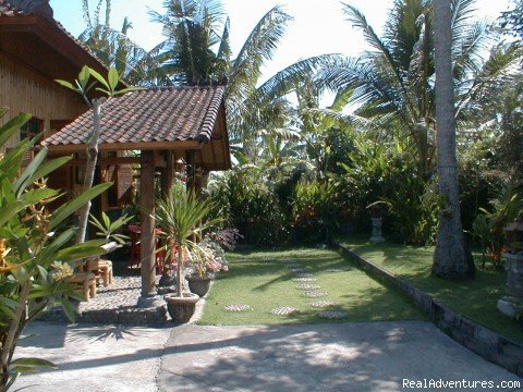 The Bali Kambodja Homestay-Inn Bungalows are offering really inexpensive + remarkable & unique Accommodation on Bali in a small Village near the beach
