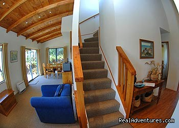 Lounge/stairs - Wheki Cottage - Nelson Coastal Barnstay