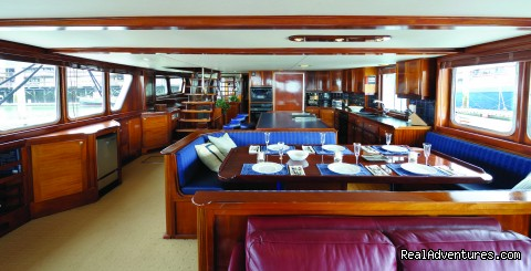 Huge salon for comfort - Alaska Sea Adventures YachtAlaska