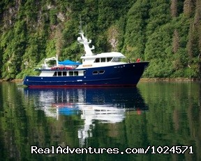 Motor Yacht Northern Song in calm harbor. (#24 of 24) - Alaska Sea Adventures YachtAlaska
