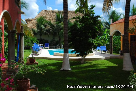 Our pool is surrounded by a lush tropical garden - Casa Colonial, Cozumel Vacation Villas