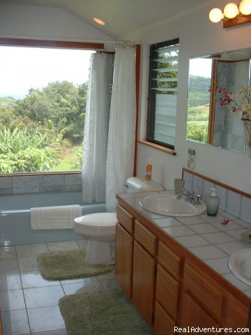 Master Bath with a View | Image #3/6 | Bluff-front Beach/View House with Sunken Spa