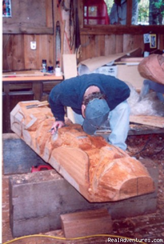 Carving a totem pole