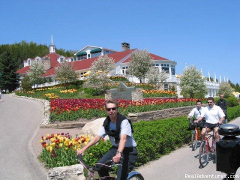 Step back in time at the beautiful Grand Hotel on Mackinac Island. Here only horse drawn carriages travel on the narrow streets. No cars are allowed. Bicycling is a popular activity on this beautiful island in Michigan