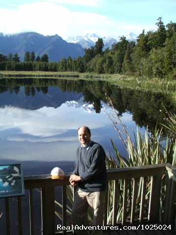 Robert at Lake Matheson - New Zealand Custom Tours by Tailored Travel