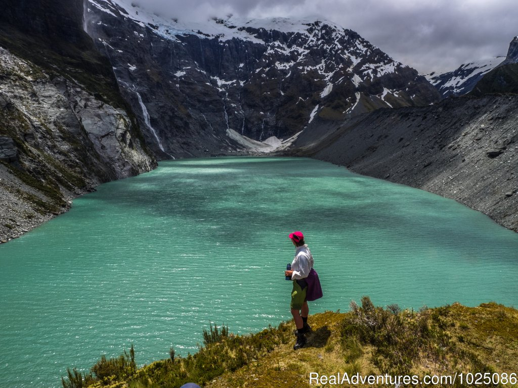 Lake view on Gillespie-Rabbit Pass | Image #2/9 | New Zealand Wild Walks with Aspiring Guides