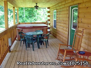 Front Deck w/ large 6 person Hot Tub | Image #3/8 | Way Away Log Cabin w/ Hot Tub & View of Smoky Mtns