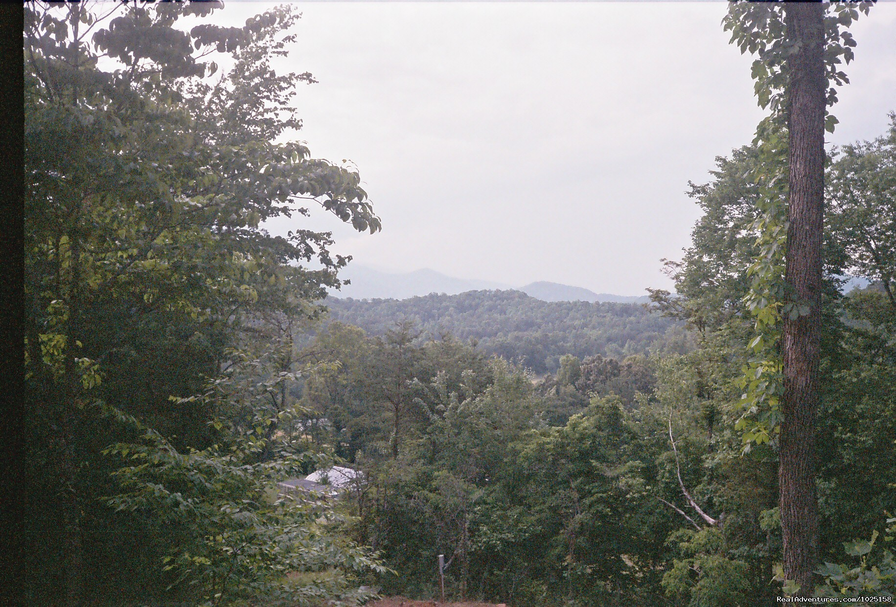 View from front porch of Way Away Cabin | Image #2/8 | Way Away Log Cabin w/ Hot Tub & View of Smoky Mtns