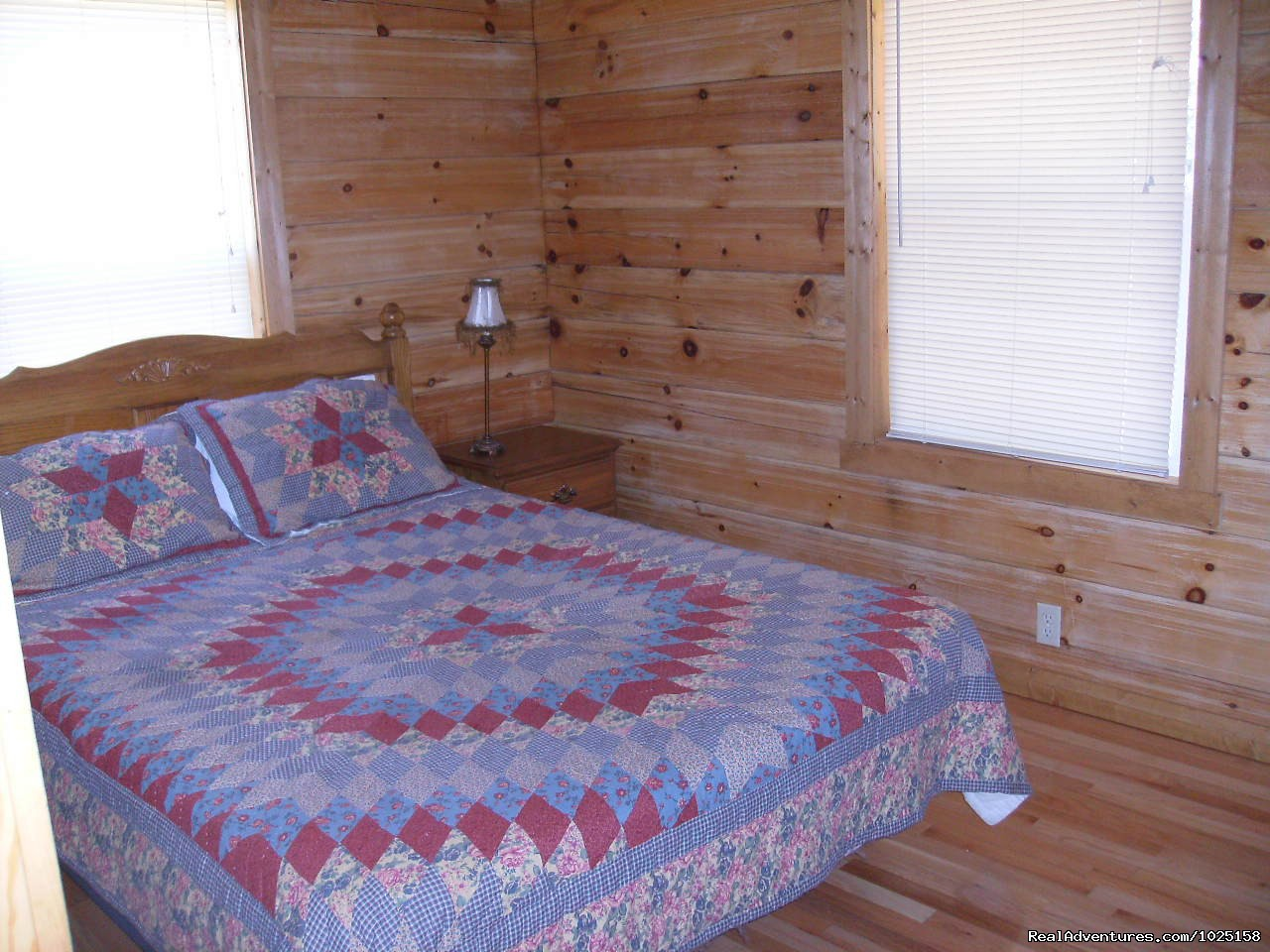 Bedroom 1 - Queen Bed | Image #7/8 | Way Away Log Cabin w/ Hot Tub & View of Smoky Mtns
