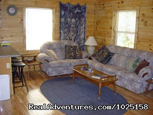 Living Room - Way Away Log Cabin w/ Hot Tub & View of Smoky Mtns