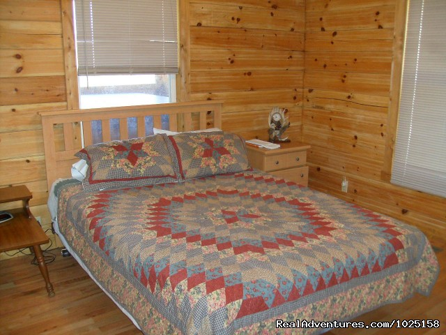 Bedroom 2 - Queen Bed - Way Away Log Cabin w/ Hot Tub & View of Smoky Mtns