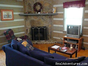 Living Room w/queen sleeper sofa - Cherokee NC Log Cabin Rental w/ Hot Tub