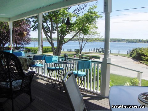 Relax on the waterfront porch at Stirling House - Stirling House Bed and Breakfast - Greenport NY