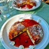 German apple pancakes with raspberry coulis