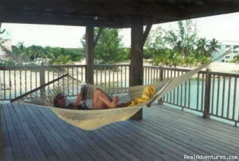 Relaxing in the odean-front pavillion (#4 of 22) - Caribe Sands Beach Resort - Dive Cayman Brac