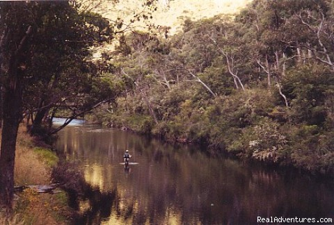 Mitta Mitta River glide - Fly Fishing Australia wilderness streams horseback