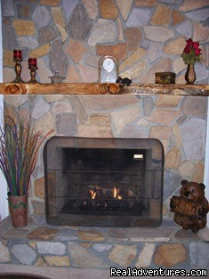 Stone fireplace w/gas logs in LR. - A Singing Creek Awaits You At This Mtn Cabin