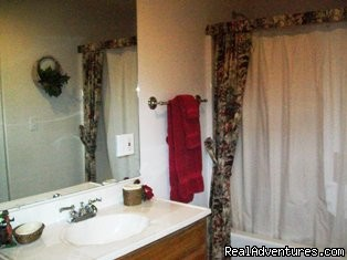 Bottom Floor Bathroom By King Bedroom - A Singing Creek Awaits You At This Mtn Cabin