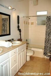 Bath, 2 sinks, in 3/2 'Garden' Suite - El Prado Villas, Ocean Park, San Juan's best beach