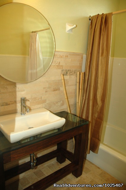 New Travertine Bath, 2/1 'Green' Suite - El Prado Villas, Ocean Park, San Juan's best beach