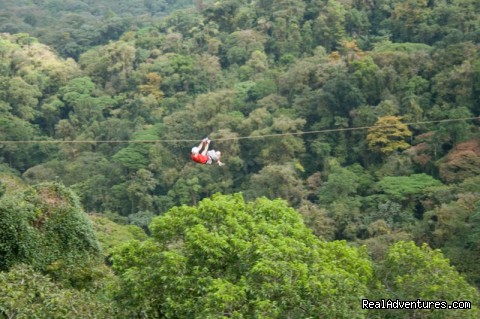Zip line canopy tour over the tops of the trees - Bill Beard's Costa Rica 2016 Vacation Packages
