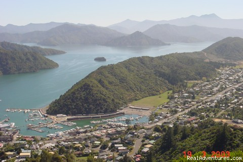 Aerial view of Marlborough Sounds - The Waterfront Apartments Picton Marina