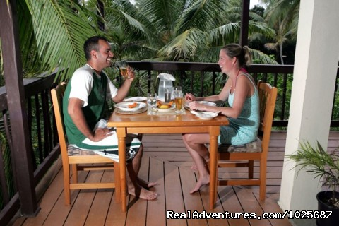 Dining on veranda of main bure - Scuba Dive at Tiliva Resort in Kadavu Fiji