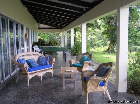 Wide verandas surround the house - Windy Edge, Tobago, retreat on tropical island