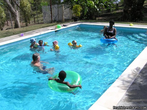 fun in the pool - Windy Edge, Tobago, retreat on tropical island