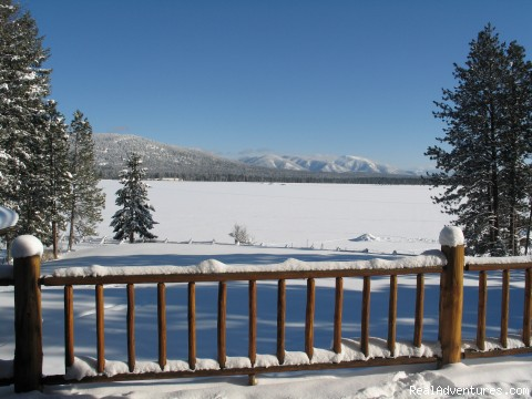View from the lodge deck - Rich Ranch Winter Snowmobiling Adventures
