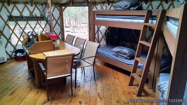 Comfortable bunks, beds and futon sleeps 8 - Falls Brook Yurt Rentals in the Adirondacks
