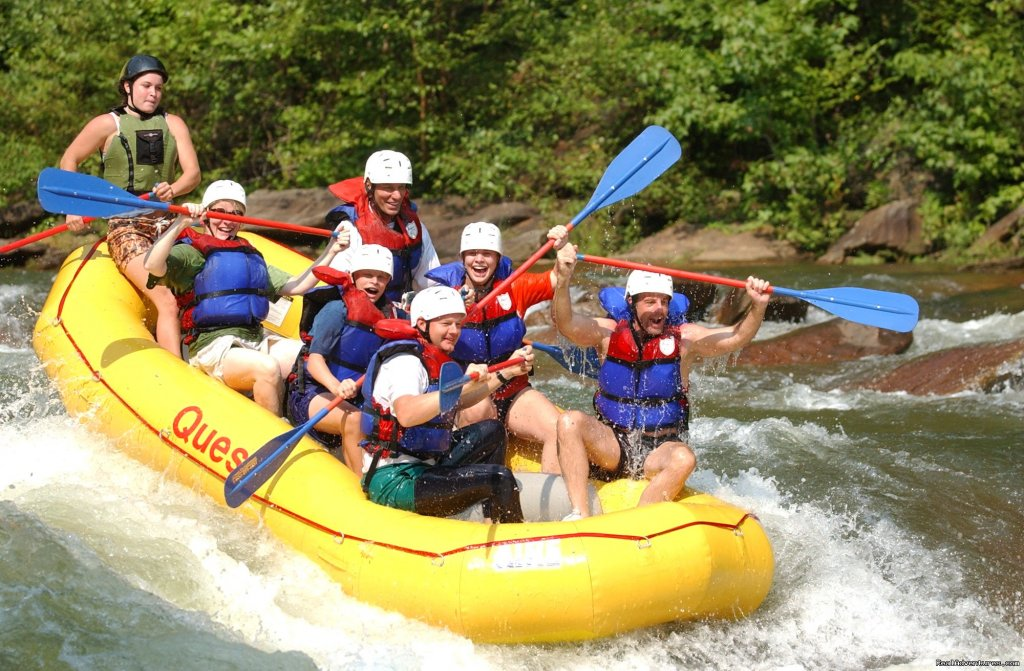 Ocoee River whitewater rafting, premium half and full day rafting trips with Quest Expeditions. Experience the nation's most popular whitewater adventure! Mountain cabin rentals, retail and photo shop, catered meals, group lodging, conference center.