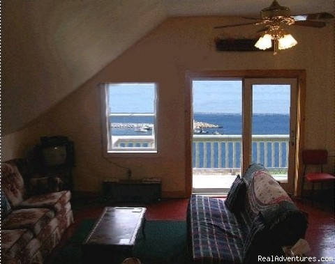 Living Area (w Double Bed/Couch) - Matinicus Island Oceanfront Getaway Cottage
