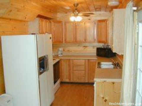 The Kitchen - Nature's Haven Log Cabin - Gameroom, Views, Hottub