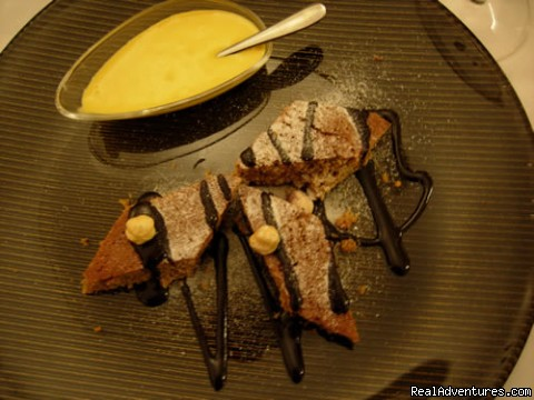 chocolate & hazelnut cake with Moscato zabaglione sauce - Cooking Tours: Experience Real Local Life In Italy