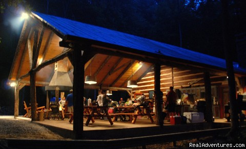Creekside luxury log cabins in the Smokies Group Pavilion with bandstand, firepit and kitchen