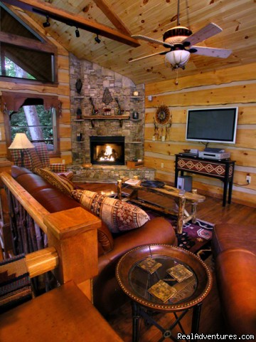 Upscale amenities include flat screen TVs (Cherokee Lodge) - Creekside luxury log cabins in the Smokies